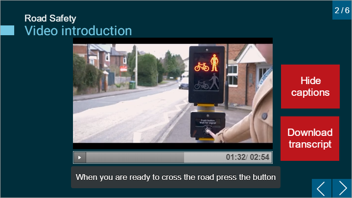 Storyline page with the captions which have been added by the captioning tool appearing underneath the video.