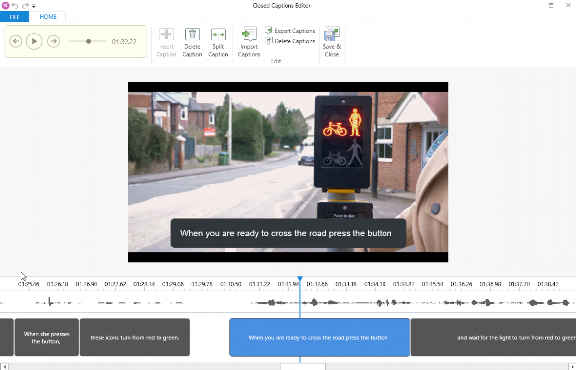 Storyline captioning tool. The tool allows you to see the video and add captions below it so that you can synchronise the captions with the action in the video.