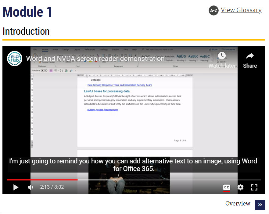 Course Arc eLearning module with an embedded YouTube video. Captions appear at the bottom of the video. Underneath the captions are the YouTube functions for videos,including the CC icon to switch closed captions on and off.