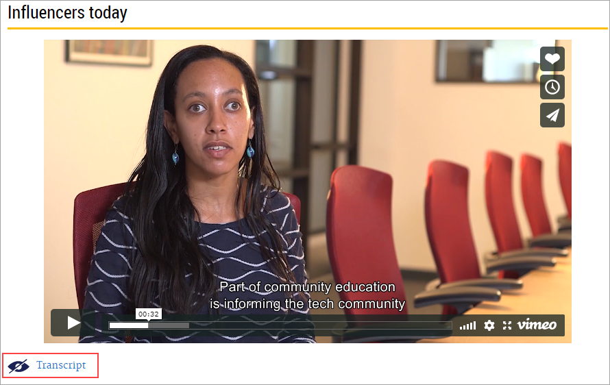"""CourseArc eLearning resource with an embedded Vimeo video. Captions appear at the bottom of the video. Underneath the video there is a visual impairment icon . There is text which says """"Transcript"""" next to the icon."""