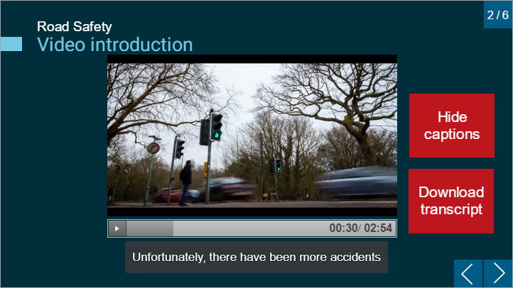 Storyline eLearning resource. There is a video embedded into the page with captions appearing underneath the video.  The page also shows two buttons, one which allows the learner to toggle the captions on and off and one which allows the learner to download a transcript.