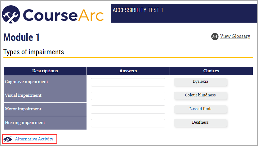 """A CourseArc drag and drop activity.  The learner is asked to drag examples of the four types of impairments to the correct category. Underneath the activity, there is an accessibility icon. There is text which says """"Alternative Activity"""" next to the icon."""