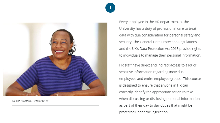 Image shows introduction page for a GDPR compliance course.