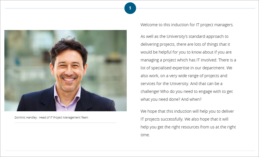 Image shows introduction page of an induction course for IT project managers.