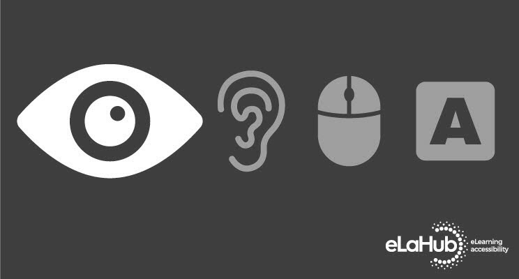 4 accessibility icons with icon for visual impairment enlarged and highlighted.